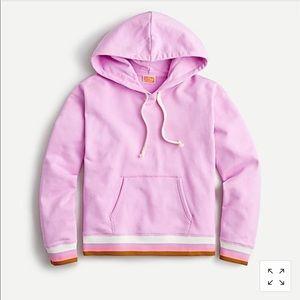 J. Crew Pink Hoodie w/ Striped Rib Edging NWT!